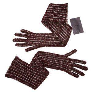 PRADA ITALY Long GLITTER Gloves BURGUNDY Wool